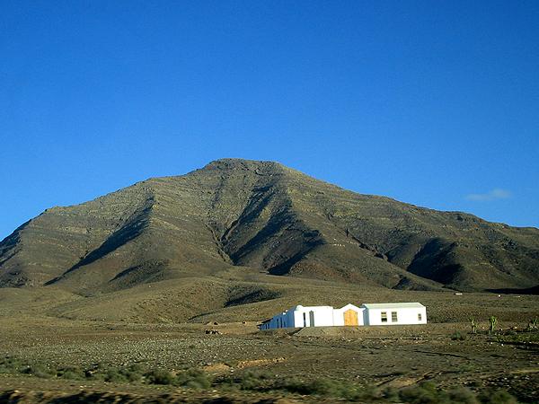 Fuerteventura Water Park. Arid hills on Fuerteventura,